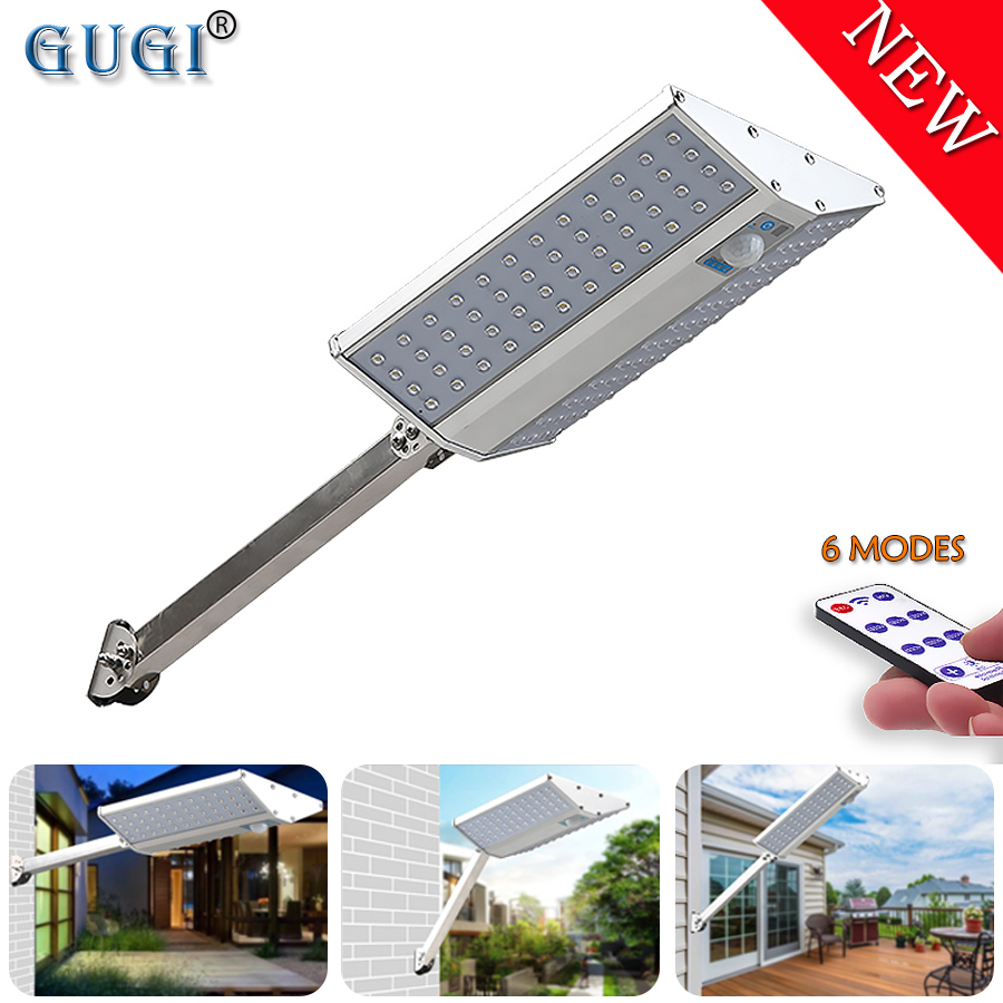 6 Modes Led Solar Light Waterproof Solar Street Lights PIR Motion Sensor Double Sided Solar Garden Lamp For Outdoor House Plaza