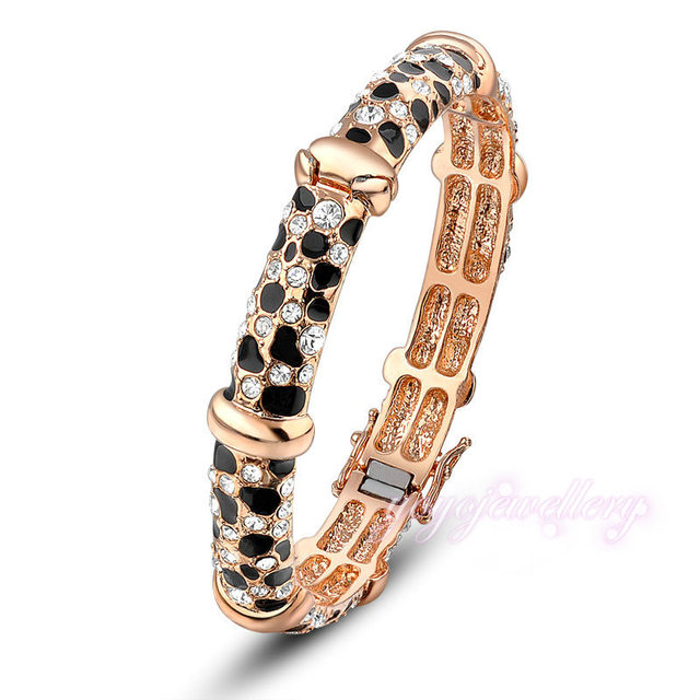 Mytys Black and Clear Crystal  Rose Gold Plated Bangle for Women B79