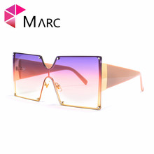 MARC 2019 Oversized Square Rimless Sunglasses Women Red Brand Designer Big Sun Glasses Female One Piece Travel Gafa de sol