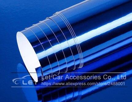 Автомобильный стиль, высокая растягивающаяся Водонепроницаемая УФ-защита, синий хром, зеркальная виниловая пленка, лист, рулонная пленка, автомобильная наклейка, наклейка, лист - Название цвета: Blue