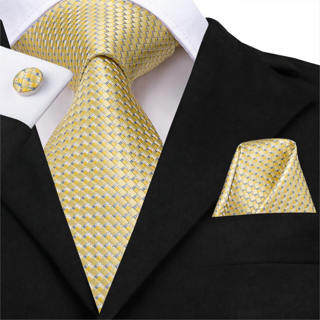 Hi-Tie Wholesale Golden Solid Tie Hanky Cufflinks Sets Men's Long Last Silk Ties For Formal Wedding Party Yellow Necktie SN-3232