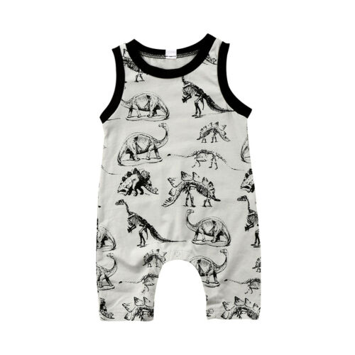 Pudcoco Newborn Baby Boys Girls Summer Dinosaur Sleeveless   Romper   Long Pants Jumpsuit Outfits Clothes