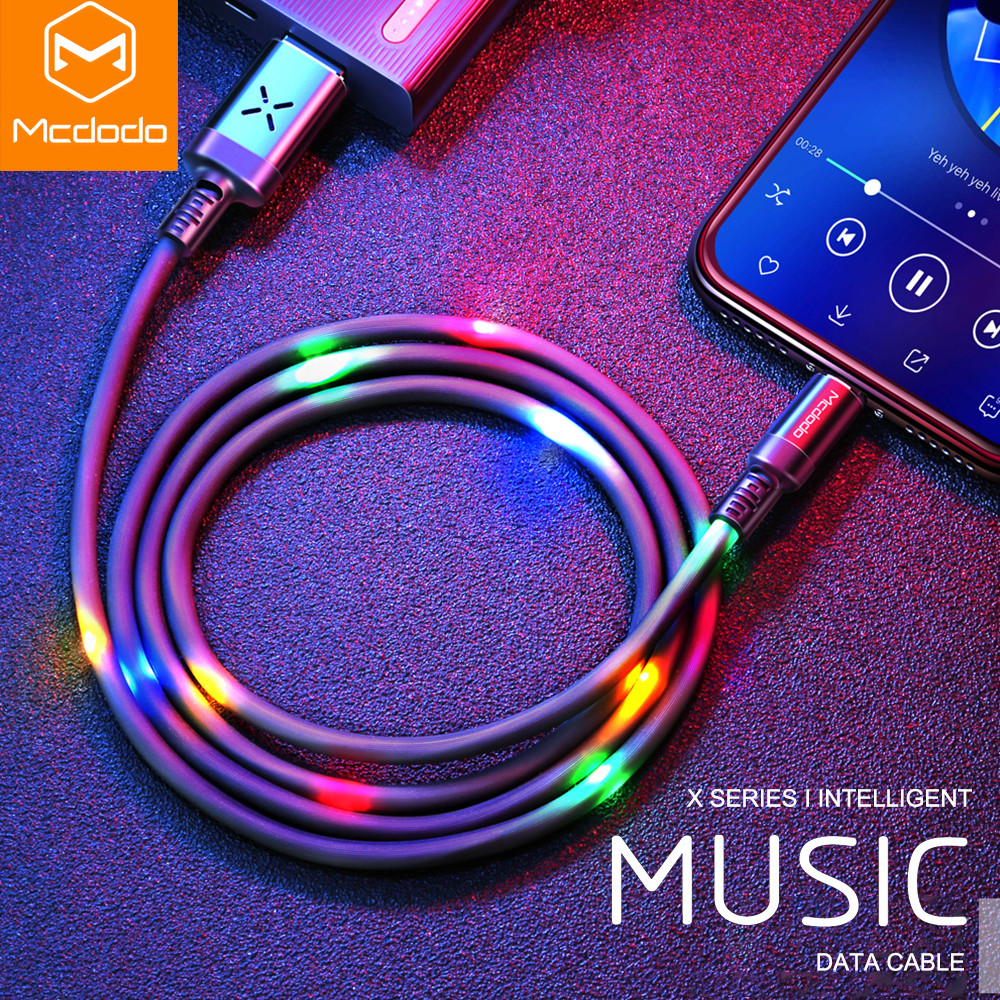 MCDODO Volume Control Dancing LED USB Cable Fast Charging Cable Mobile Phone Charger Cable For iPhone Apple X XS MAX 8 6 6s plusMCDODO Volume Control Dancing LED USB Cable Fast Charging Cable Mobile Phone Charger Cable For iPhone Apple X XS MAX 8 6 6s plus