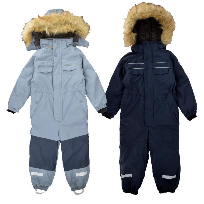 Combinaison d'hiver rembourrée pour enfants, combinaison d'assaut, garçon et fille, vêtements de ski d'extérieur haut de gamme