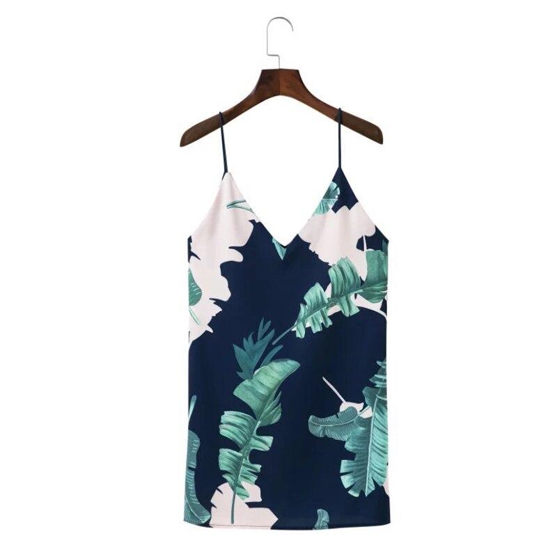 5de2d8ddbeab88 Bohemian Cami Zomerjurk Vrouwen Palmblad Print V hals Casual Dress 2018  Sexy Mouwloze Jurken China Goedkope Kleding QWA1385 45 in Bohemian Cami  Zomerjurk ...