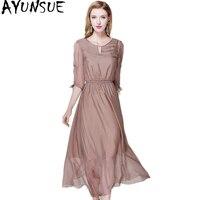 Ayunsue женские платья элегантный натуральный шелк женское платье Лето Половина рукава однотонные Длинные вечерние платья женские роскошные