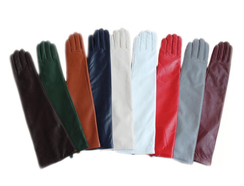 """47 センチメートル (18.5 """") ロング平野リアル羊革イブニングラムスキン手袋黒、赤、ベージュ、青、白、緑、青  グループ上の アパレル アクセサリー からの レディース手袋 の中 1"""
