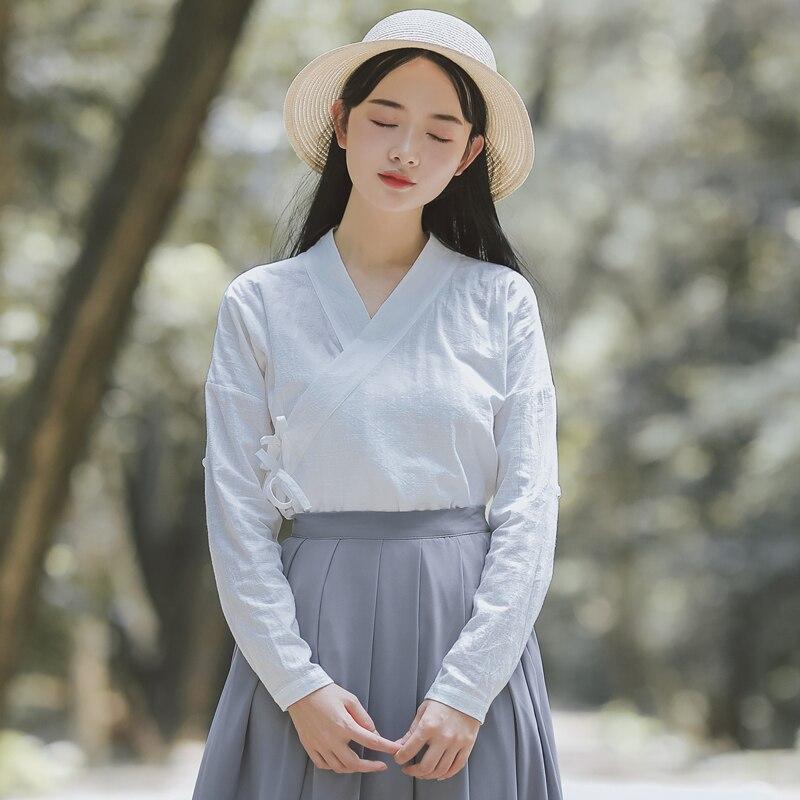9bd536ad4536 Verano de 2019 chino tradicional ropa para mujer tops y blusas camisa de  lino oriental Mujer ...