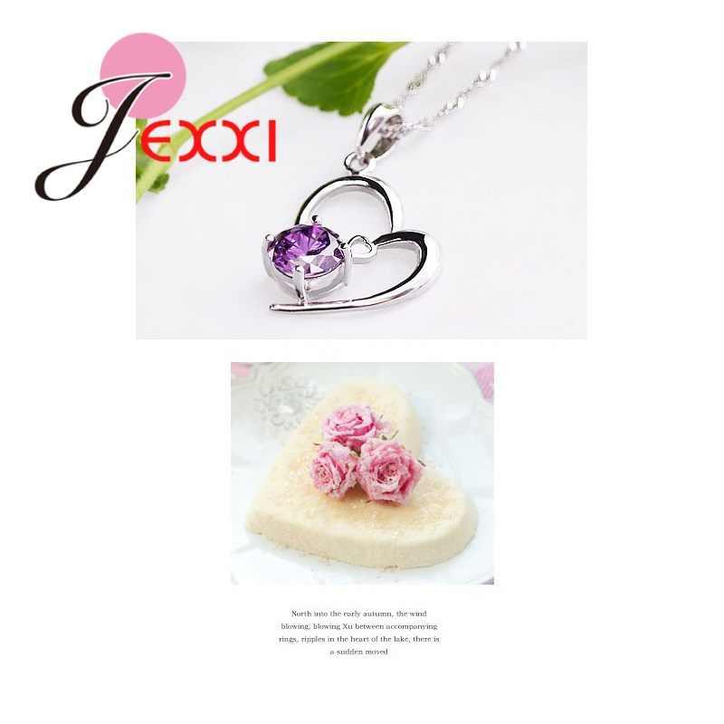 Preço de atacado authentic 925 prata esterlina coração forma pingente conjunto casamento/aniversário jóias presente para as mulheres