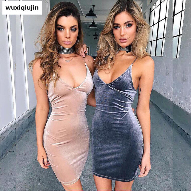 5a305c4446ba4 Summer New 2017 hot selling beautiful Bare back sling deep V collar band  velvet dress, Sexy women dress spring real leisure