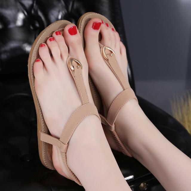New 2016 Women Summer Style Flat Shoes Women Flat Heel Comfortable Soft Bottom Sandals Women Sweet Flip Flops large Size 35-42