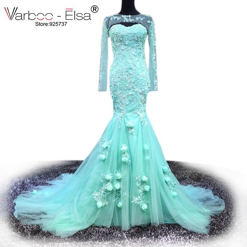 VARBOO ELSA Mermaid Evening Dress 2017 New Hot Vestido De Festa Sexy green illusion flowers Long