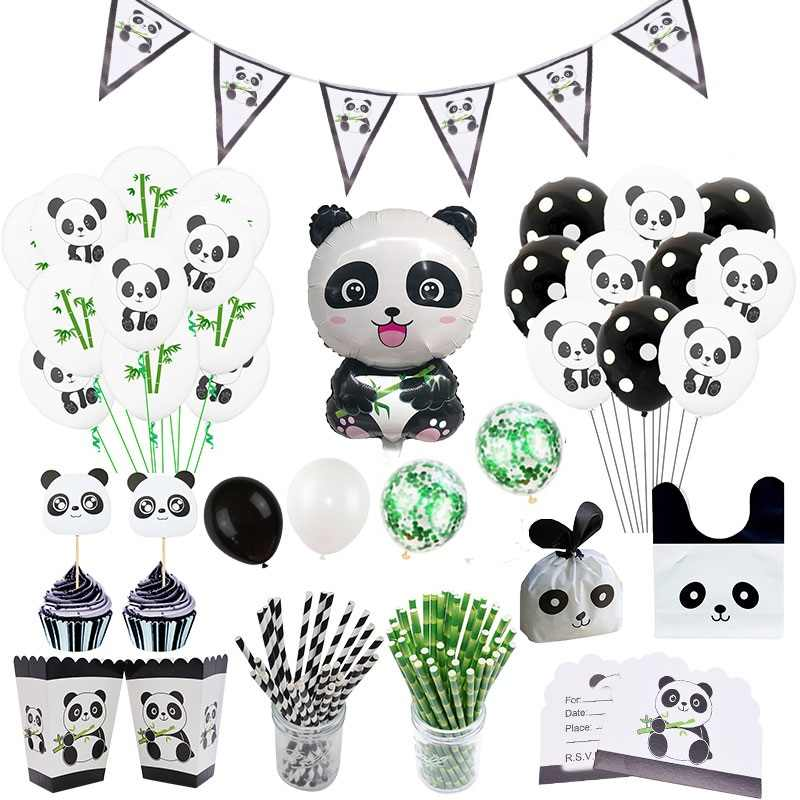Panda Party Decoration Supplies Cute Helium Foil Balloons Banner DIY Festival Birthday Accessories Baby Shower Favor Kids Toys