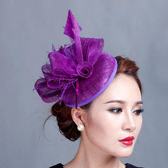 Aliexpress.com   Buy Women purple cocktail hair hat fascinators ladies  wedding party fascinator hat race fascinators hats with feather from  Reliable hats ... 9c3d0e3bc8b
