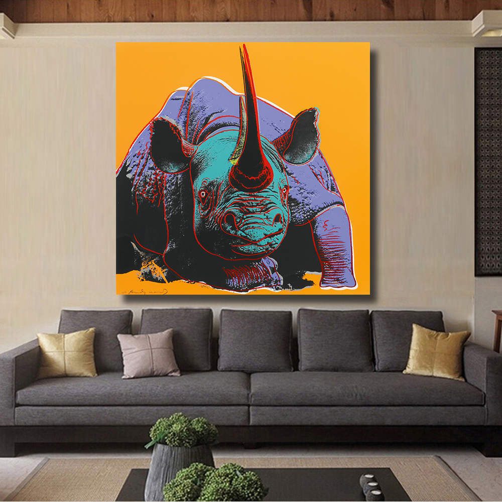 HDARTISAN Black Rhino Print Wall Art Decoration oil Painting Wall Painting Picture Poste ...
