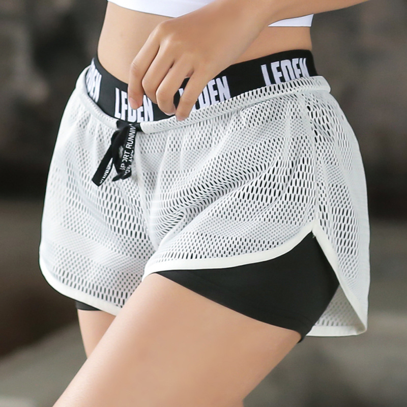 Women Running Shorts 2 In 1 Quick Dry Breathable Gym Fitness Sport Training Yoga Shorts Elastic Letter Print Tight Shorts ...