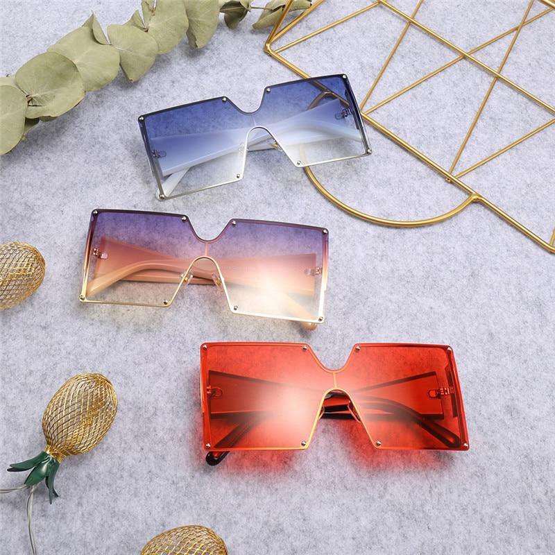 2019 Fashion Square Sunglasses Women Brand Designer Oversized Gradient Blue Black One Piece Sun Glasses New Style Shades UV400 5