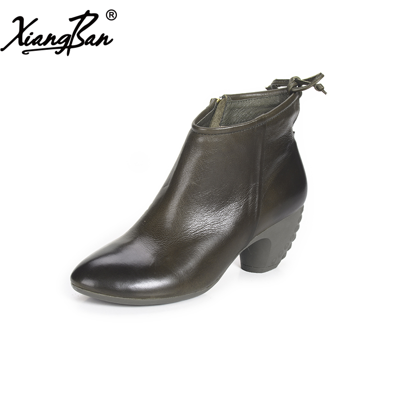 все цены на 2017 Women Boots High heel Ankle Boots pointed toe Genuine Leather Chunky Heels handmade short boots онлайн