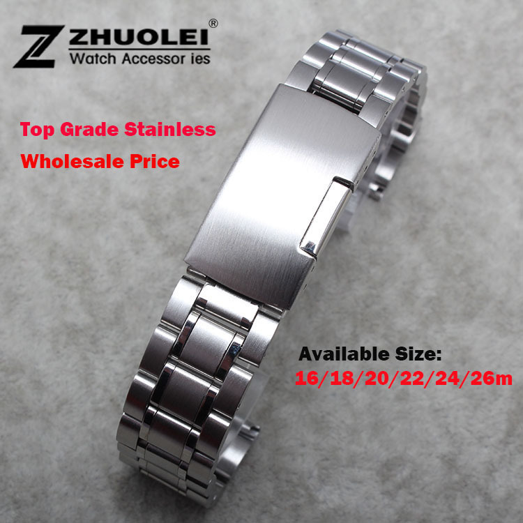 New Mens Watch band 16mm 18mm 20mm 22mm 24mm Silver Stainless Steel Watch Band Strap Straight End Bracelet For Smart Watch 20mm 22mm 24mm new mens black stainless steel mesh milanese watch band strap bracelet for smart watch