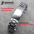 New Mens Watch band 16mm 18mm 20mm 22mm 24mm Silver Stainless Steel Watch Band Strap Straight End Bracelet For Smart Watch