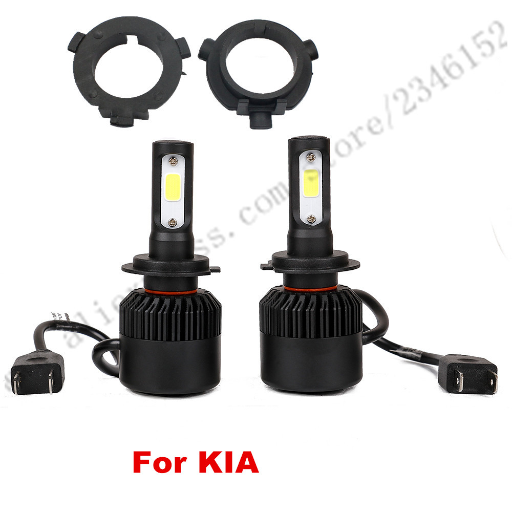 ФОТО 1setsH7 LED Conversion Kits with 2pcs Adapter for Kia K3 K4 K5 Sorento All in One Car headlight fog light Lamp conversion kit