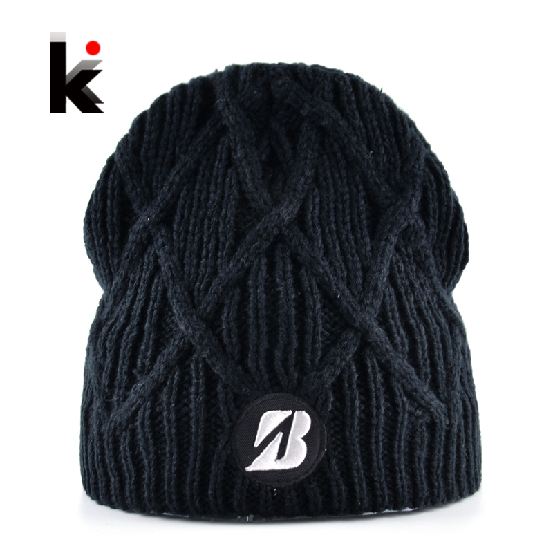 2018 Winter Hats For Men Knitted   Skullies     Beanies   Women Add Velvet Warm Bonnet Caps Boys Outdoors Unisex Chapeu Masculino Gorros