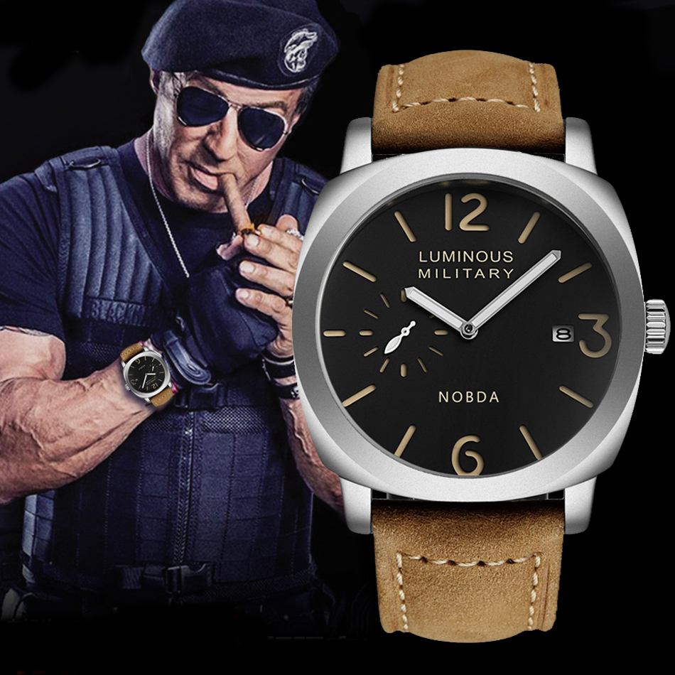 Top Brand Luxury Leather Strap Men Watches Sports Brown Army Military Quartz Watch Men Wrist Watch Clock saat relogio masculino weide new men quartz casual watch army military sports watch waterproof back light men watches alarm clock multiple time zone