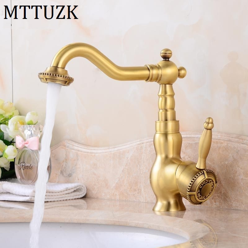 MTTUZK Free Shipping antique bronze basin faucet bathroom deck mounted faucet hot and cold mixer tap Height up faucetMTTUZK Free Shipping antique bronze basin faucet bathroom deck mounted faucet hot and cold mixer tap Height up faucet