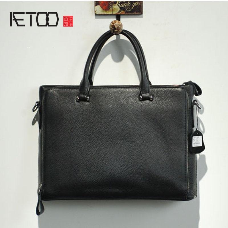 AETOO  Leather Men 's Handbag Import First Layer Cowhide Business Briefcase Bag Shoulder Bag Messenger Bag aetoo men s retro men s genuine leather cowhide shoulder bag business briefcase briefcase