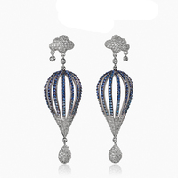 XIUMEIYIZU Fashion Famous Brand Micro Pave Blue CZ Crystal Cloud And Ball Shaped Drop Earrings For