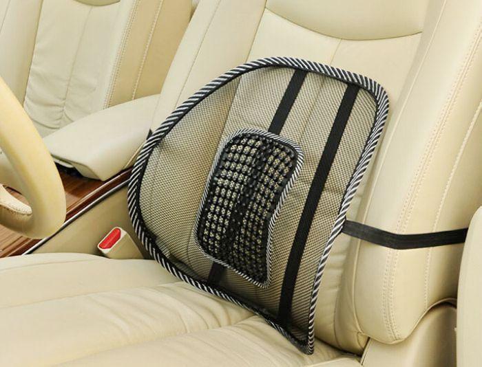 Asiento de coche silla de oficina masaje posterior soporte lumbar Mesh ventilar Cojines pad negro, malla lumbar Cojines para el conductor del coche