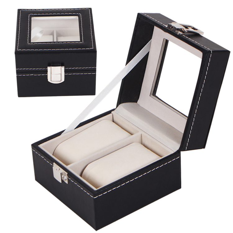 New Luxury 2 Grid Leather Watch Box Jewelry Display Collection Storage Case Watch Organizer Box Holder reloj caixa relogio large 6 grid watch jewelry watch display organizer gloss top box case gif storage synthetic black leather