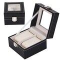Novo Luxo Relógio de Couro 2 Grade Caixa de Coleta De Armazenamento De Exibição de Jóias Caso Caixa de Relógio Organizador Titular caixa relogio reloj