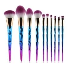 MAANGE 10pcs Makeup Brushes Set Diamond rainbow handle Cosmetic Foundation Blusher Powder Blending Brush beauty tools kits