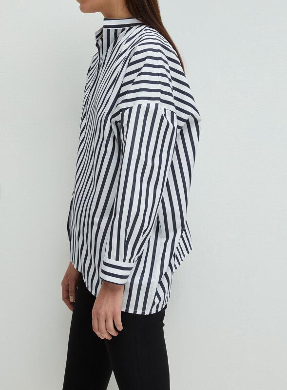 Noma Striped Shirt Skew Collar Drop Shoulder Asymmetric Shirts Blouse Top For woman 2019ss new-in Blouses & Shirts from Women's Clothing    2