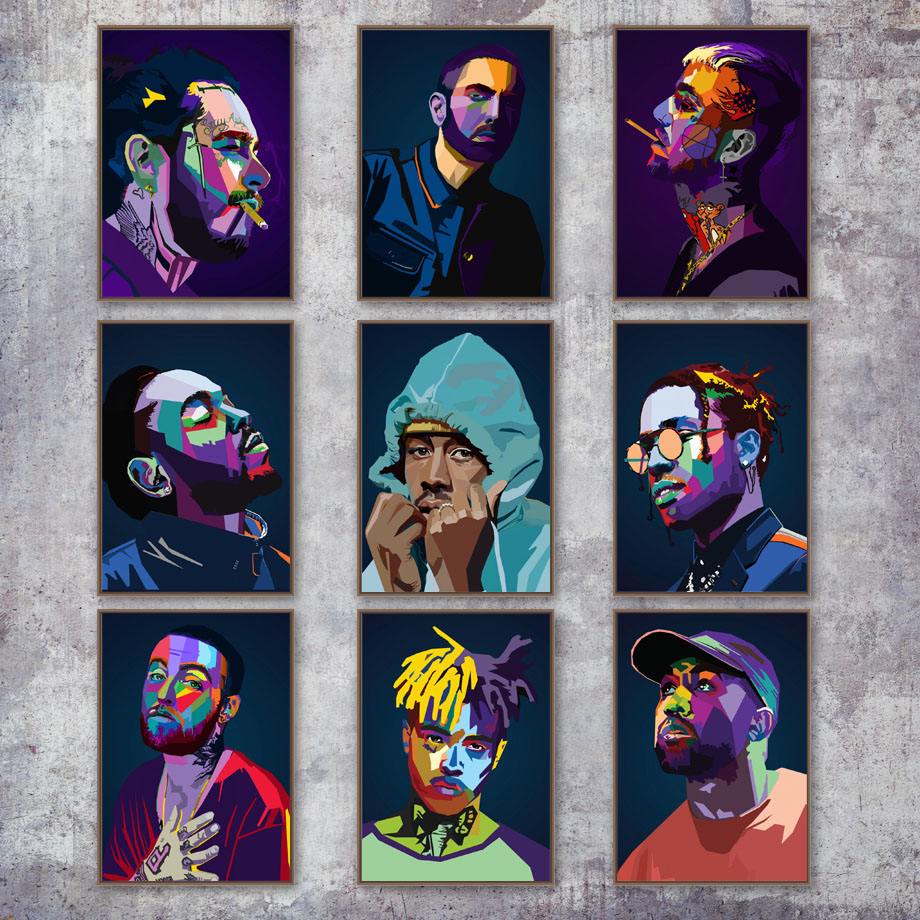 Art Decor Hip Hop Legend Old School Hip Hop Rap Star Wall Art Canvas Painting Silk Poster 60x80cm No Frame
