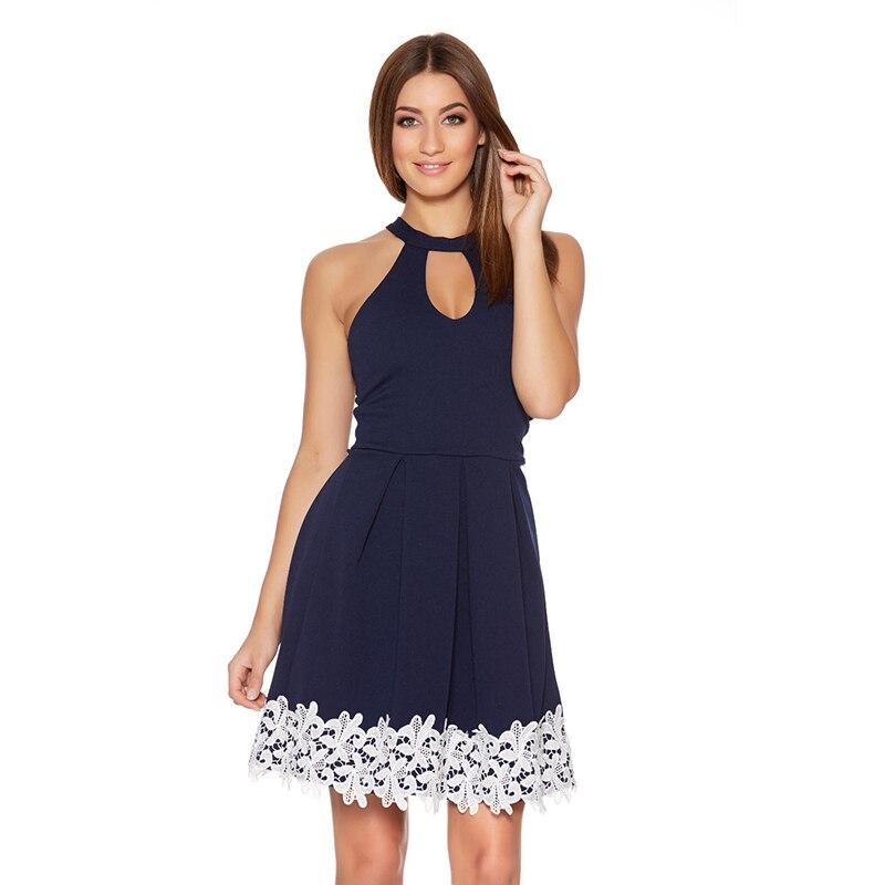 Fantaist verano de las mujeres de cuello halter keyhole encaje plisado vestidos