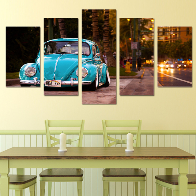 5 Panels Fashion volkswagen beetle Cars Paintings Wall Art Home ...