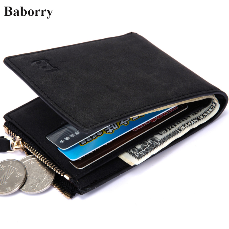 Baborry Brand Leather Wallets Men Purses Solid Color New Designer Short Small Wallets Male Money Bags With Credit Card Holders elikor оптима 50 медный антик