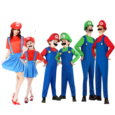 super mario costume with Hat and beard Adult Child Green / Red supermario costume for Halloween Purim Christmas party