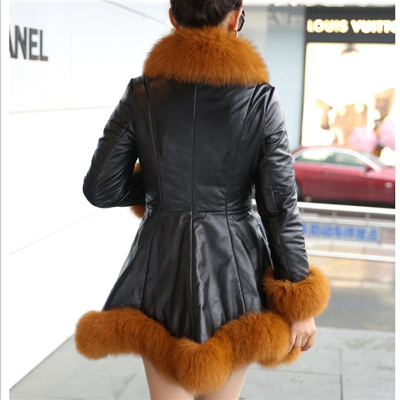 Blanc Style Femmes Femelle Plus Coréen La Arrivée Long marron Faux De Renard 5xl Fourrure Manteau noir Taille Patchwork 2019 Slim Fit Vêtements Pu Nouvelle 6xl 8p5qBx