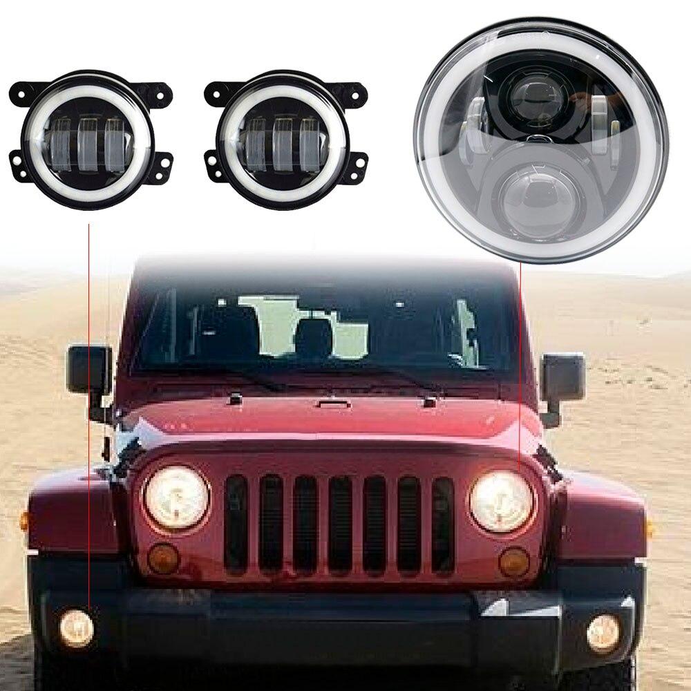 4 Led Fog Lights 7 Halo Headlights For Jeep Wrangler Jk Jku Tj Lj
