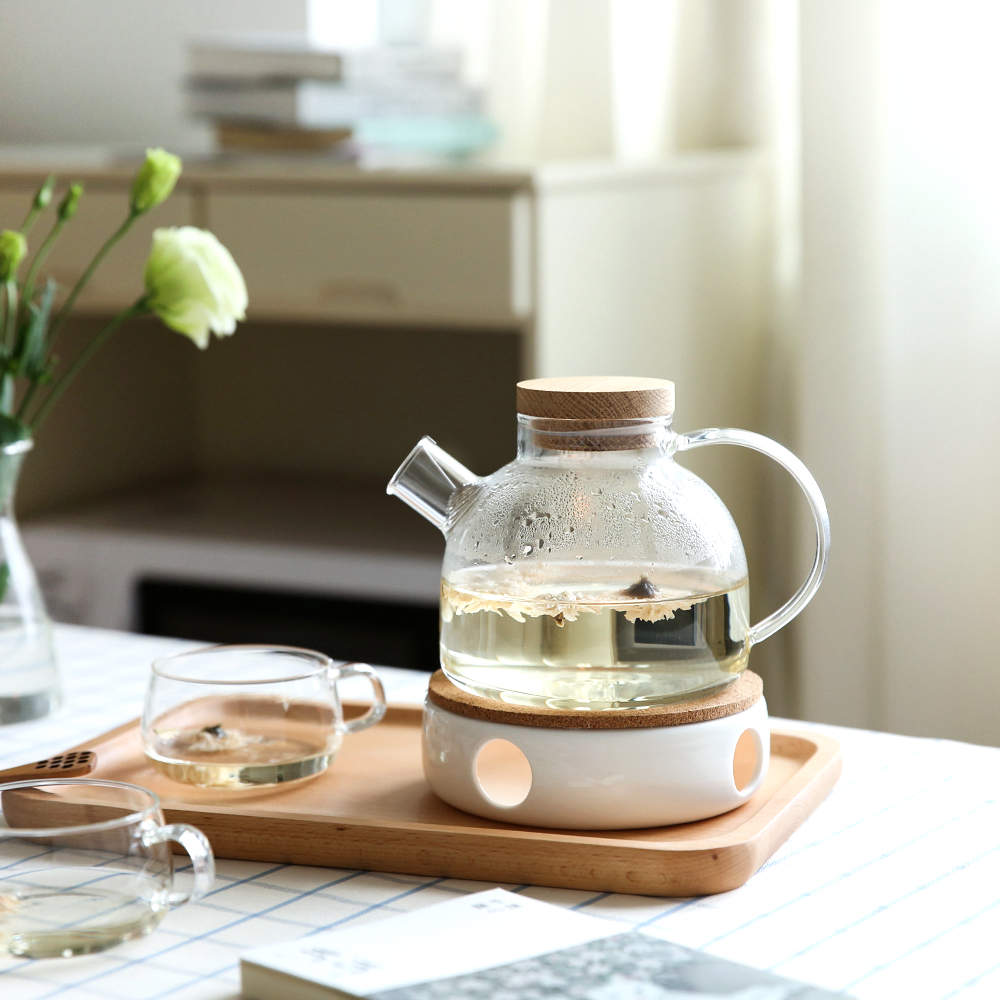 1L/1.8L Large Capacity Drinkware Glass Teapot Teaware Tea Pot Heat-Resistant Kettle Wooden Lid Home Office Coffee Bar Supplier