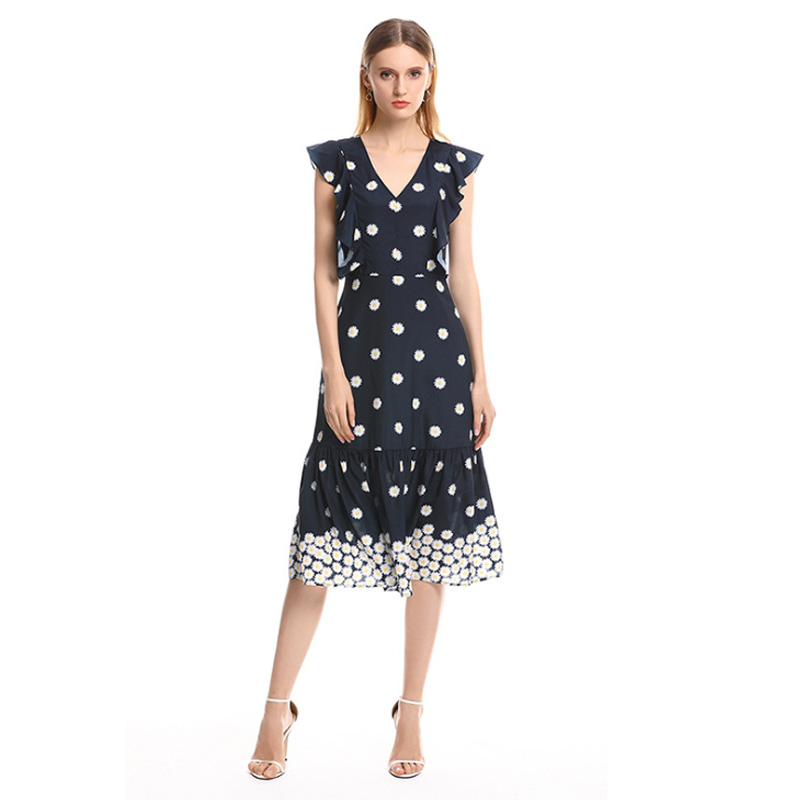 High Quality New Designer Fashion Dress Spring Summer sleeveless Women Black Flower Amazing High Waist Satin Silky Ladies Dress in Dresses from Women 39 s Clothing