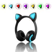Newly Kids Wireless Cat Ear Headphones Glow Earphone Mic Game Bluetooth Headset Christmas Gifts DC128
