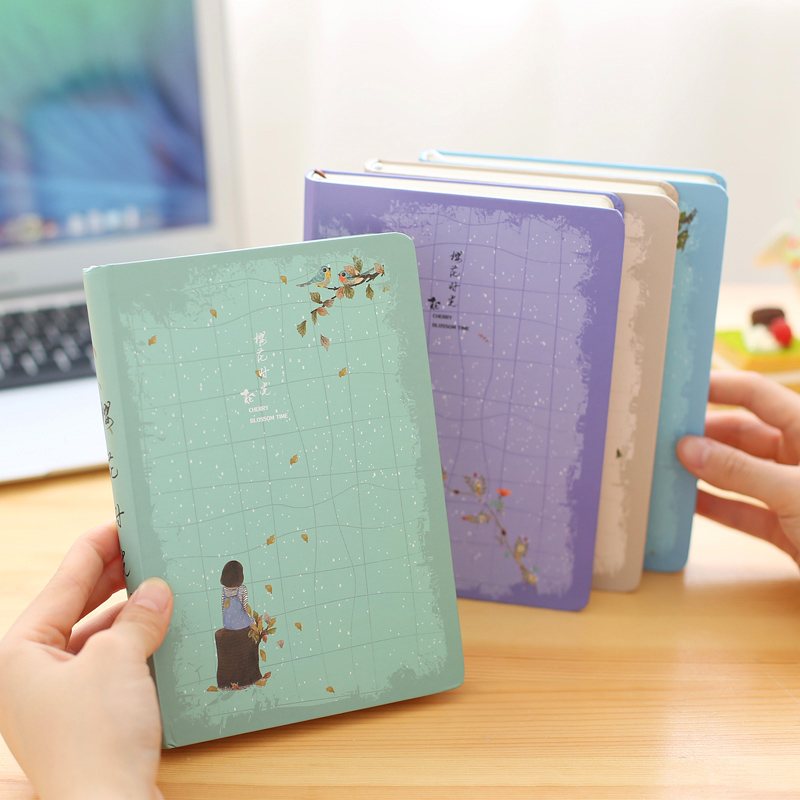 Korea Cute Cherry Girls Sketchbooks Office Stationery 32K Notebook Journal Periodical Diary Planner Notebooks Agenda 2017 europe spiral original notebook planner hardcover sketchbook periodical pads notebooks caderno diary office stationery journal