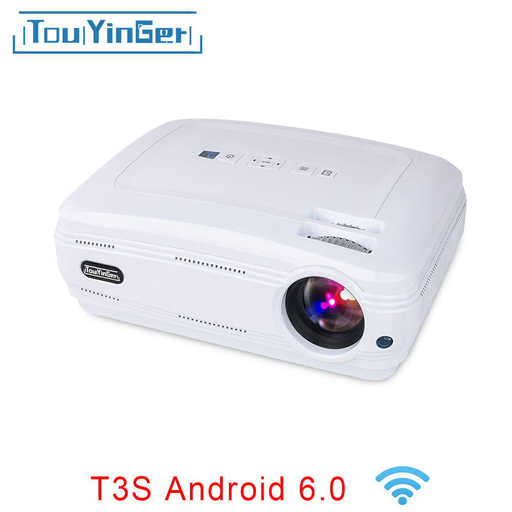 Touyinger T3 ЖК-дисплей проектор 3500 люмен Android 6.0 bluetooth Дополнительно Бимер 1080 P LED ТВ видео дома Театр накладные proyector