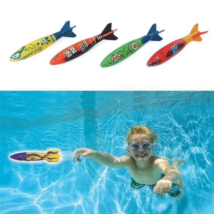 Pool toy 4 Pcs/Pack Torpedo Rocket Throwing Swimming Diving Game Summer Torpedoes Bandits Children Underwater Dive Sticks Toy