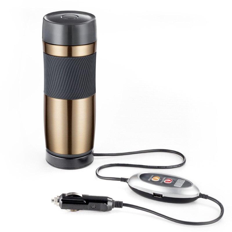 Acero inoxidable coche 12/24 voltios intercambiable eléctrico calor taza aislante portátil viaje taza de café apagado automático