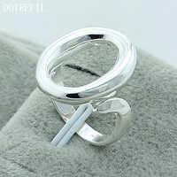Alta calidad 925 Color plata Carta Abierta O anillos de tamaño libre anillo antiguo Vintage joyería fina anillo de dedo para mujer regalo gran oferta